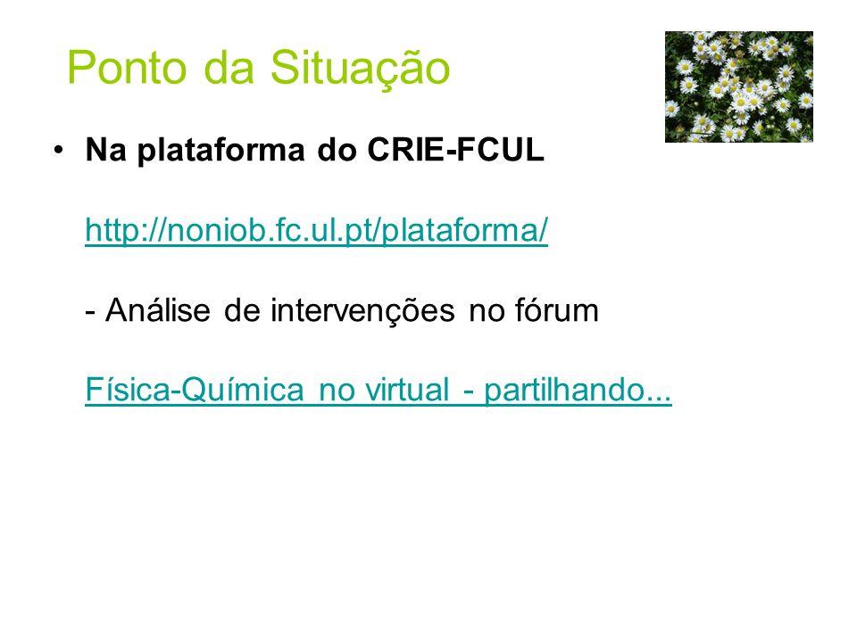 Ponto da Situação Na plataforma do CRIE-FCUL http://noniob.fc.ul.pt/plataforma/ - Análise de intervenções no fórum Física-Química no virtual - partilh