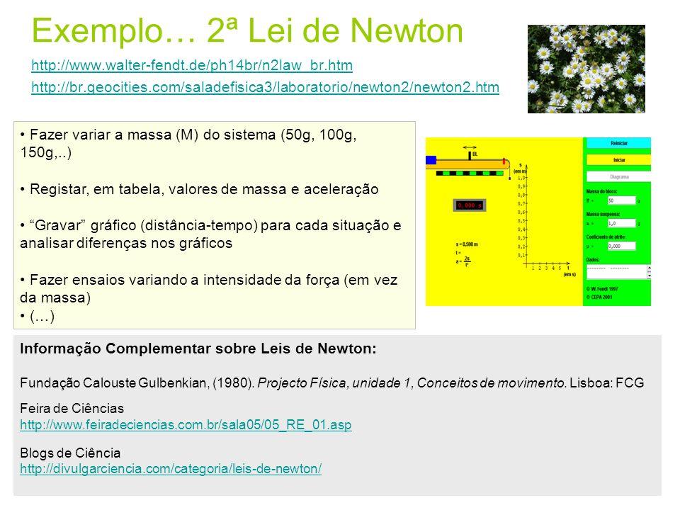 Exemplo… 2ª Lei de Newton http://www.walter-fendt.de/ph14br/n2law_br.htm http://br.geocities.com/saladefisica3/laboratorio/newton2/newton2.htm http://