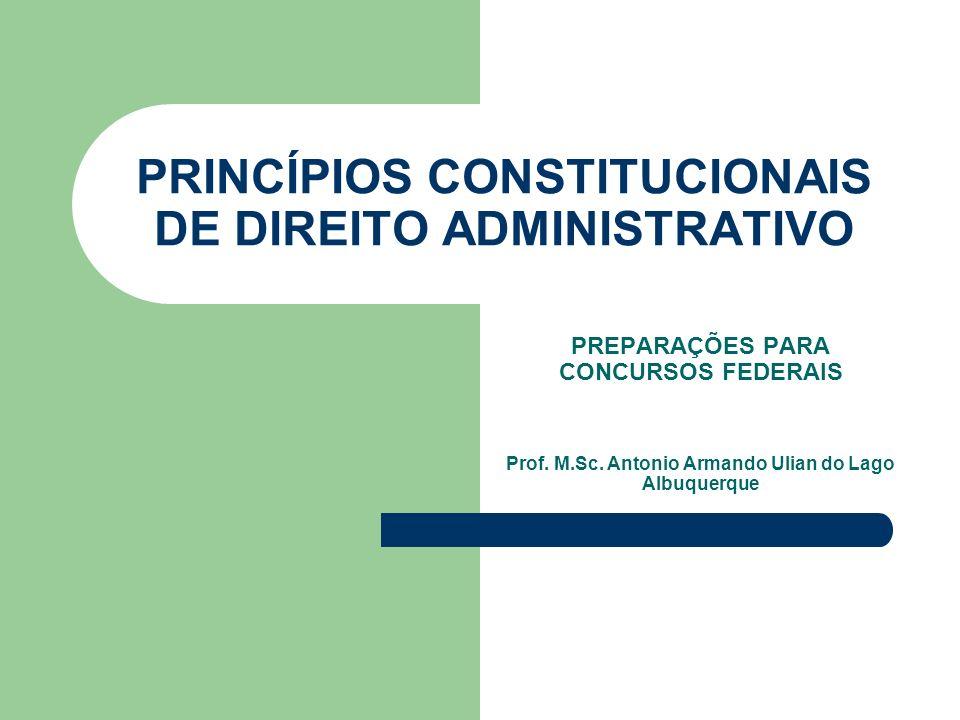 PRINCÍPIOS CONSTITUCIONAIS DE DIREITO ADMINISTRATIVO PREPARAÇÕES PARA CONCURSOS FEDERAIS Prof.