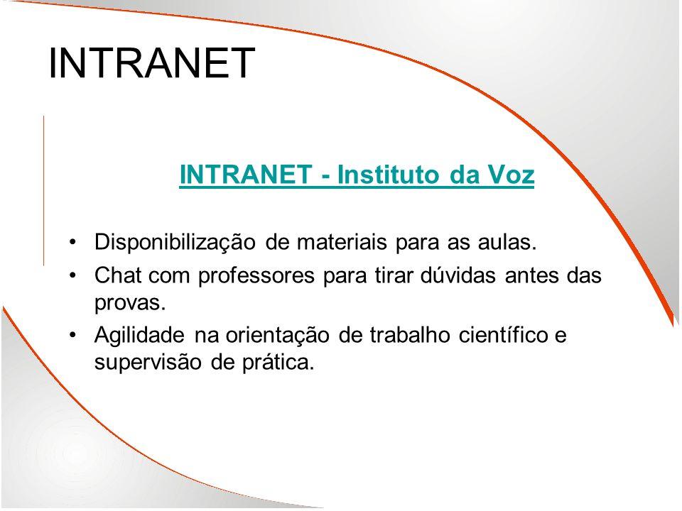 INTRANET INTRANET - Instituto da Voz Disponibilização de materiais para as aulas. Chat com professores para tirar dúvidas antes das provas. Agilidade