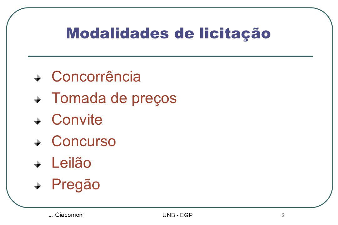 Modalidades e características Concorrência Entre quaisquer interessados que satisfizerem as condições do Edital.