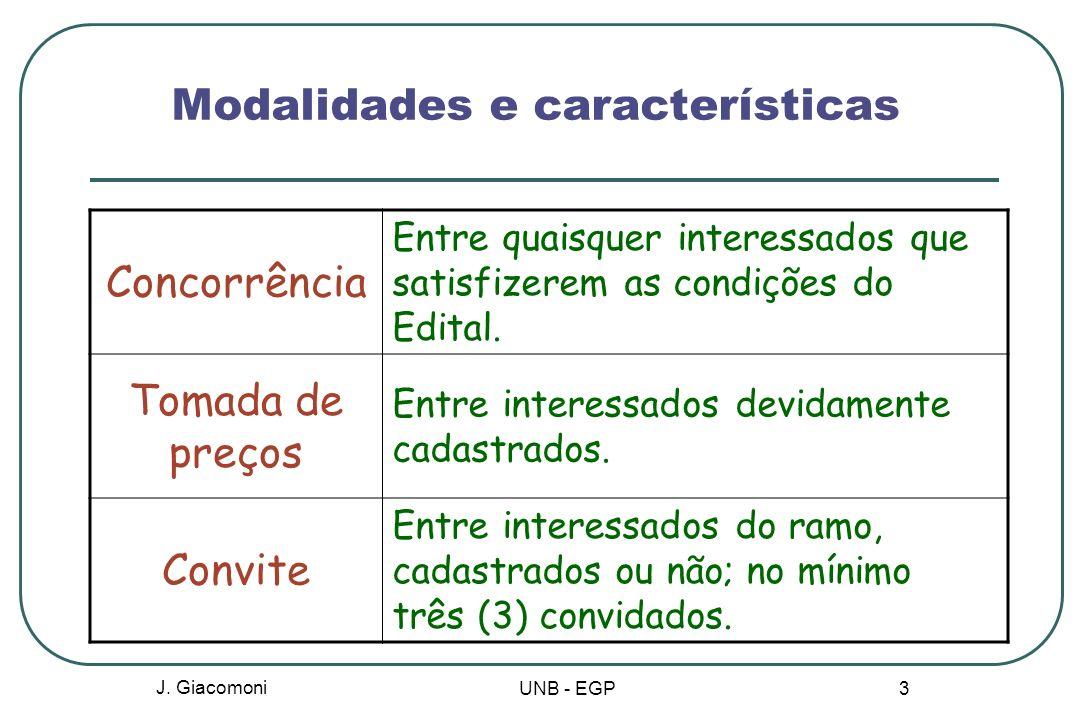 Modalidades e características Concurso Escolha de trabalho técnico, científico ou artístico por meio de prêmio ou remuneração dos vencedores.