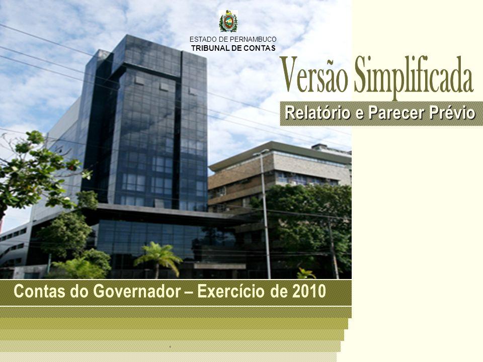 ESTADO DE PERNAMBUCO TRIBUNAL DE CONTAS Balanço Orçamentário 2010 Sumário Gestão Orçamentária RECEITAS ORÇAMENTÁRIAS R$ 19,48 bilhões DESPESAS ORÇAMENTÁRIAS R$ 19,04 bilhões O resultado da execução orçamentária foi superavitário.