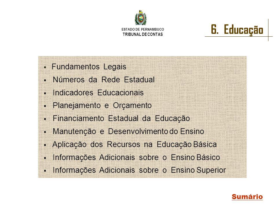 ESTADO DE PERNAMBUCO TRIBUNAL DE CONTAS 6. Educação Sumário Fundamentos Legais Números da Rede Estadual Indicadores Educacionais Planejamento e Orçame