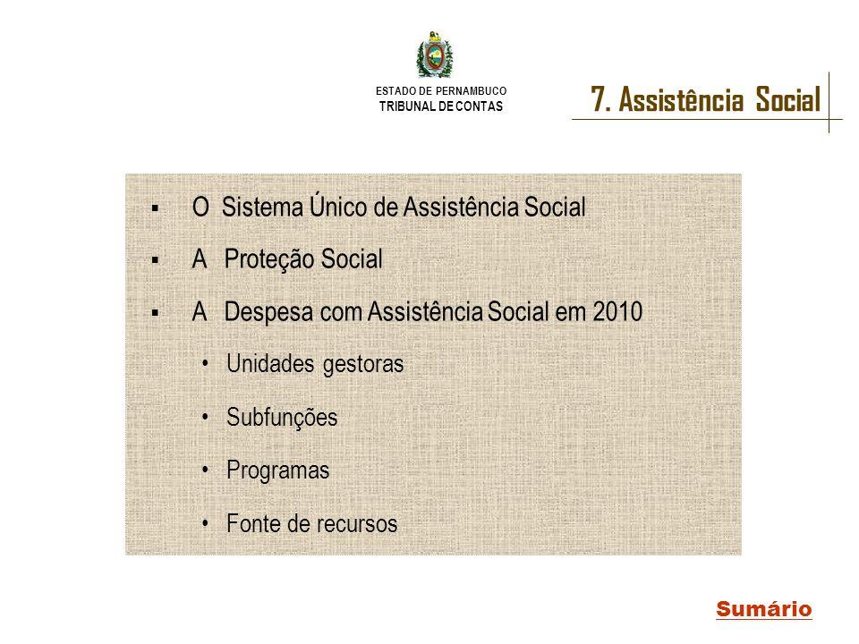 ESTADO DE PERNAMBUCO TRIBUNAL DE CONTAS 7. Assistência Social Sumário O Sistema Único de Assistência Social A Proteção Social A Despesa com Assistênci