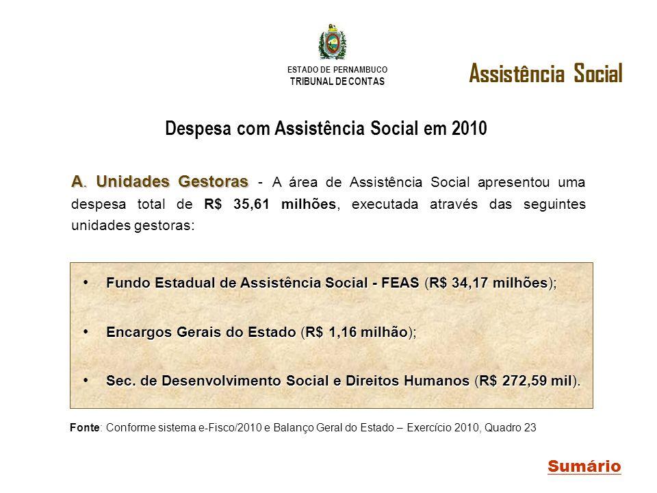 ESTADO DE PERNAMBUCO TRIBUNAL DE CONTAS Despesa com Assistência Social em 2010 Assistência Social Sumário Fundo Estadual de Assistência Social - FEAS