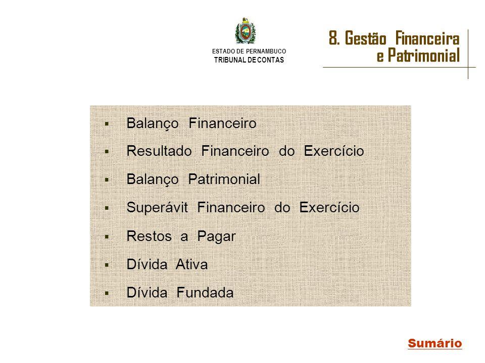 ESTADO DE PERNAMBUCO TRIBUNAL DE CONTAS 8. Gestão Financeira e Patrimonial Sumário Balanço Financeiro Resultado Financeiro do Exercício Balanço Patrim