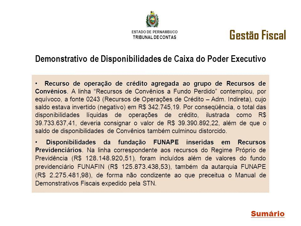 ESTADO DE PERNAMBUCO TRIBUNAL DE CONTAS Gestão Fiscal Sumário Demonstrativo de Disponibilidades de Caixa do Poder Executivo Recurso de operação de cré