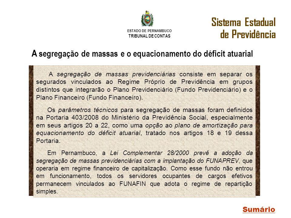 ESTADO DE PERNAMBUCO TRIBUNAL DE CONTAS Sistema Estadual de Previdência Sumário A segregação de massas e o equacionamento do déficit atuarial A segreg