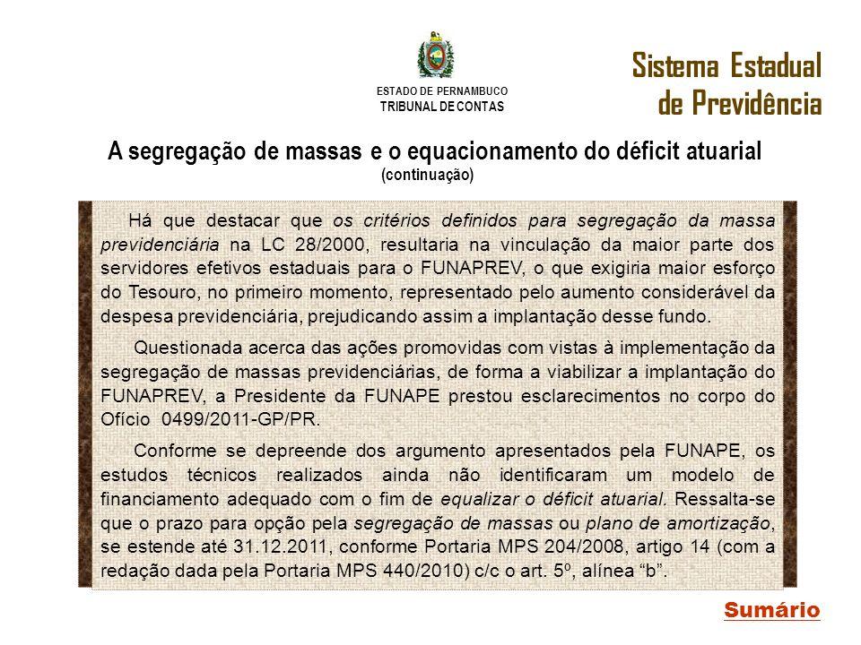 ESTADO DE PERNAMBUCO TRIBUNAL DE CONTAS Sistema Estadual de Previdência Sumário A segregação de massas e o equacionamento do déficit atuarial (continu