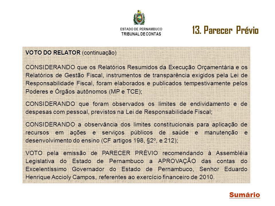ESTADO DE PERNAMBUCO TRIBUNAL DE CONTAS Sumário VOTO DO RELATOR VOTO DO RELATOR (continuação) CONSIDERANDO que os Relatórios Resumidos da Execução Orç