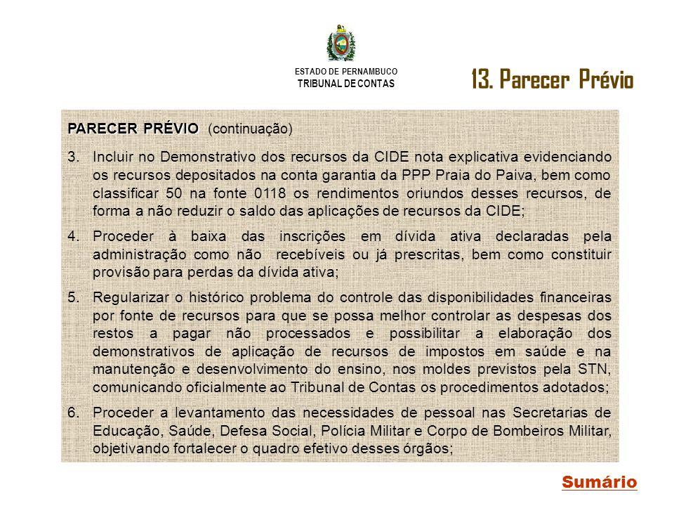 ESTADO DE PERNAMBUCO TRIBUNAL DE CONTAS Sumário PARECER PRÉVIO PARECER PRÉVIO (continuação) 3.Incluir no Demonstrativo dos recursos da CIDE nota expli