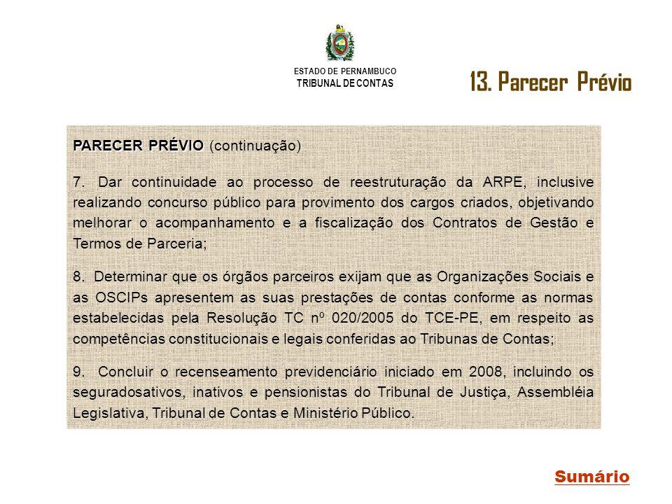 ESTADO DE PERNAMBUCO TRIBUNAL DE CONTAS Sumário PARECER PRÉVIO PARECER PRÉVIO (continuação) 7. Dar continuidade ao processo de reestruturação da ARPE,