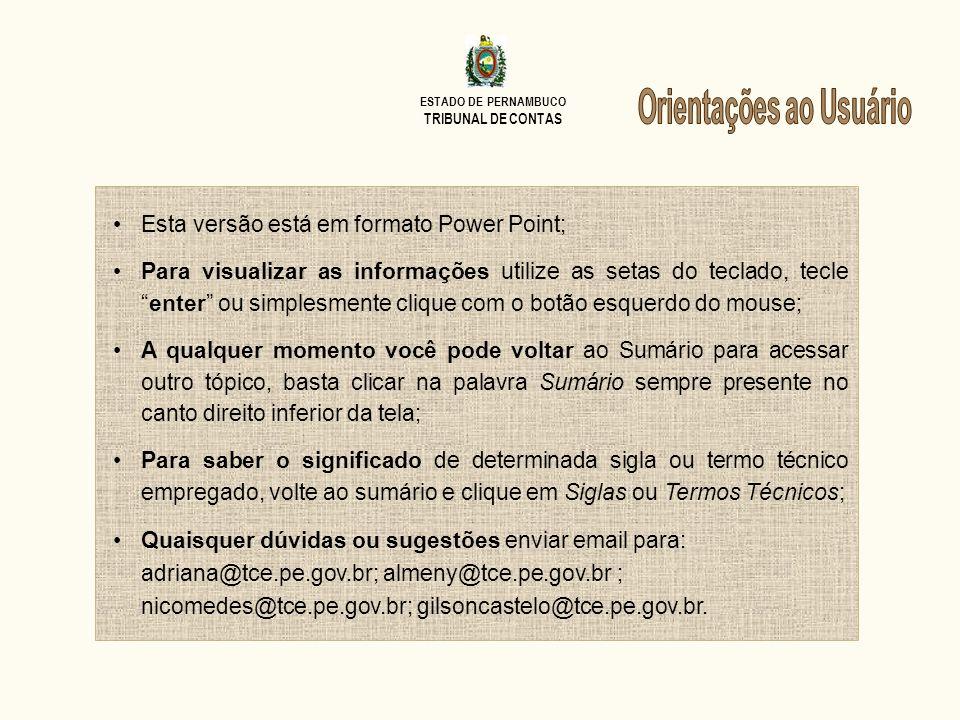 ESTADO DE PERNAMBUCO TRIBUNAL DE CONTAS Sumário PARECER PRÉVIO EMITIU o Tribunal de Contas do Estado, à unanimidade, em sessão ordinária realizada no dia 21 de março de 2010, PARECER PRÉVIO, em que recomenda à Assembleia Legislativa do Estado de Pernambuco a APROVAÇÃO das contas do Excelentíssimo Governador do Estado de Pernambuco, Senhor EDUARDO HENRIQUE ACCIOLY CAMPOS, referentes ao exercício financeiro de 2010, fazendo recomendações acerca das áreas abordadas no relatório técnico.