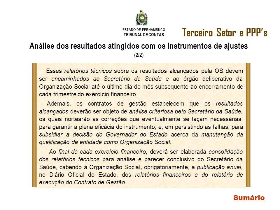 ESTADO DE PERNAMBUCO TRIBUNAL DE CONTAS Terceiro Setor e PPPs Sumário Análise dos resultados atingidos com os instrumentos de ajustes (2/2) Esses rela