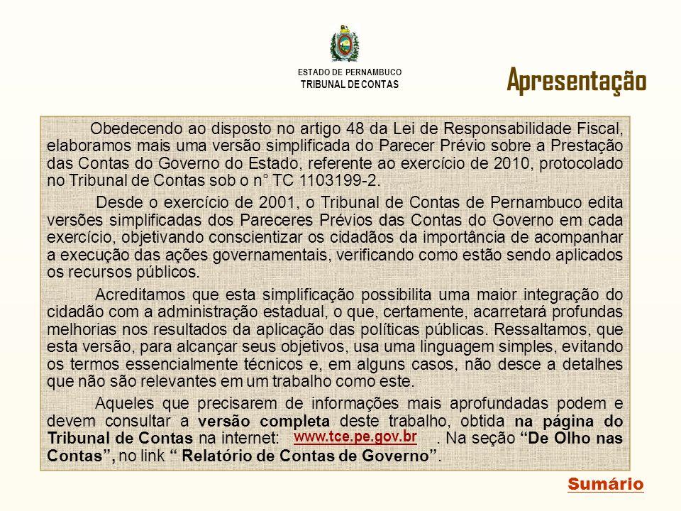 ESTADO DE PERNAMBUCO TRIBUNAL DE CONTAS Sumário PARECER PRÉVIO PARECER PRÉVIO (continuação) 7.