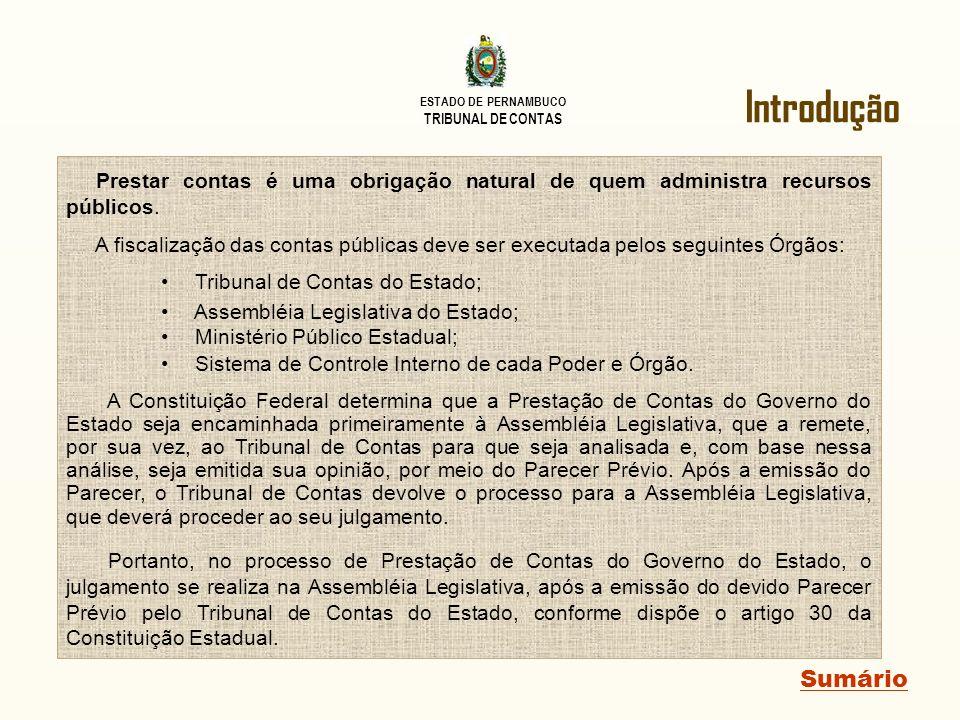 ESTADO DE PERNAMBUCO TRIBUNAL DE CONTAS Gestão Fiscal Sumário Observa-se no demonstrativo, que o Poder Executivo detinha uma disponibilidade financeira de R$ 2,44 bilhões ao final de 2010.