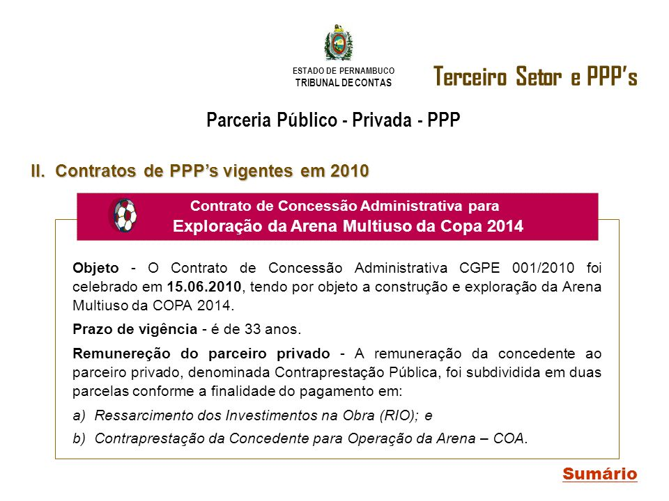 ESTADO DE PERNAMBUCO TRIBUNAL DE CONTAS Terceiro Setor e PPPs Sumário II. Contratos de PPPs vigentes em 2010 Parceria Público - Privada - PPP expedido