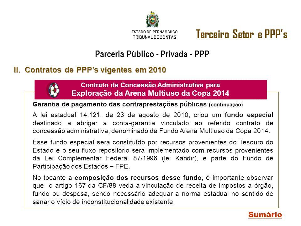 ESTADO DE PERNAMBUCO TRIBUNAL DE CONTAS Terceiro Setor e PPPs Sumário II. Contratos de PPPs vigentes em 2010 Parceria Público - Privada - PPP Contrato