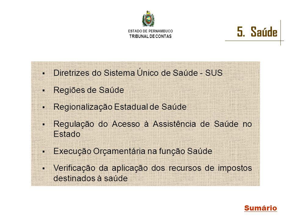 ESTADO DE PERNAMBUCO TRIBUNAL DE CONTAS 5. Saúde Sumário Diretrizes do Sistema Único de Saúde - SUS Regiões de Saúde Regionalização Estadual de Saúde