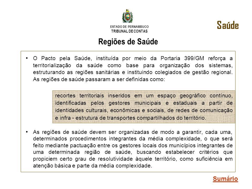 ESTADO DE PERNAMBUCO TRIBUNAL DE CONTAS Regiões de Saúde O Pacto pela Saúde, instituída por meio da Portaria 399/GM reforça a territorialização da saú