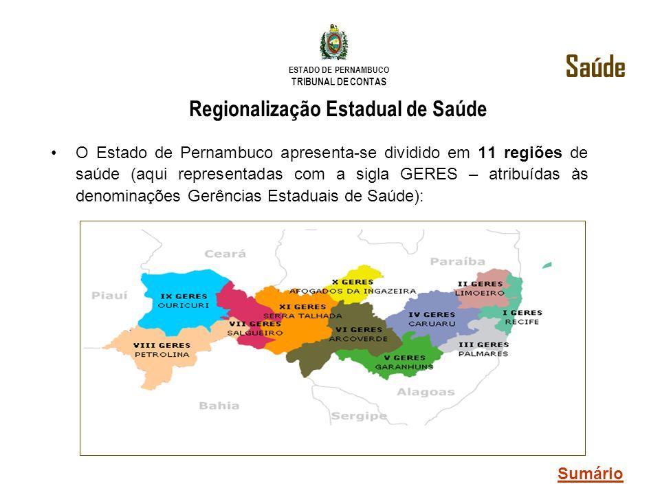 ESTADO DE PERNAMBUCO TRIBUNAL DE CONTAS Regionalização Estadual de Saúde O Estado de Pernambuco apresenta-se dividido em 11 regiões de saúde (aqui rep
