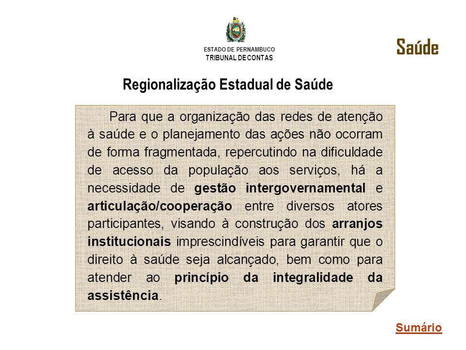 ESTADO DE PERNAMBUCO TRIBUNAL DE CONTAS Regionalização Estadual de Saúde Para que a organização das redes de atenção à saúde e o planejamento das açõe