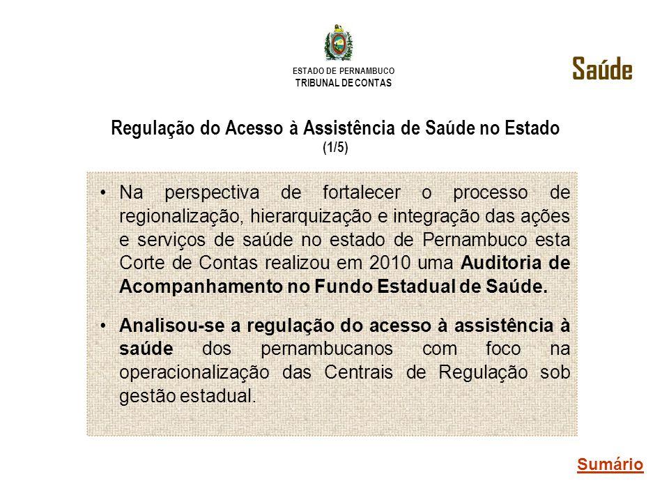 ESTADO DE PERNAMBUCO TRIBUNAL DE CONTAS Regulação do Acesso à Assistência de Saúde no Estado (1/5) Na perspectiva de fortalecer o processo de regional