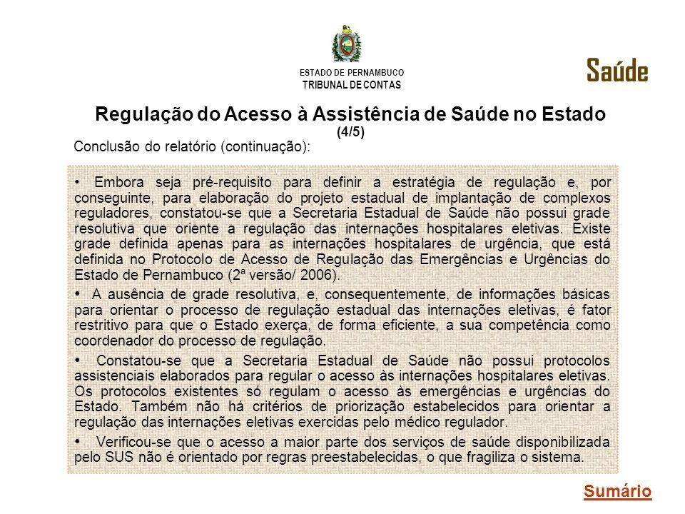 ESTADO DE PERNAMBUCO TRIBUNAL DE CONTAS Embora seja pré-requisito para definir a estratégia de regulação e, por conseguinte, para elaboração do projet