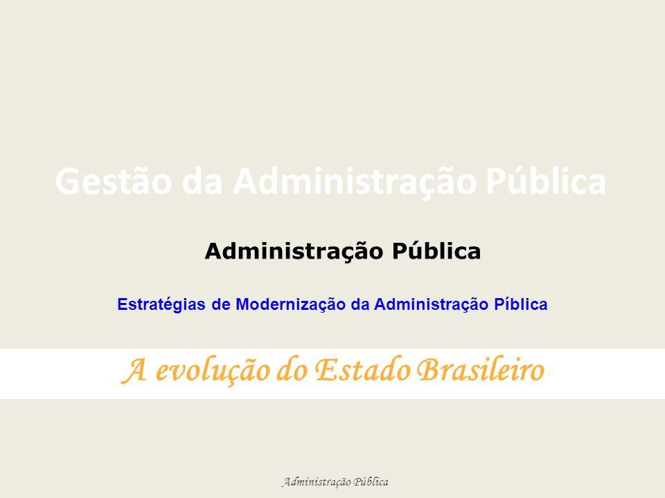 Administração Pública Gestão da Administração Pública A evolução do Estado Brasileiro Administração Pública Estratégias de Modernização da Administraç