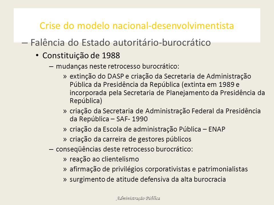 Administração Pública Crise do modelo nacional-desenvolvimentista – Falência do Estado autoritário-burocrático Constituição de 1988 – mudanças neste r