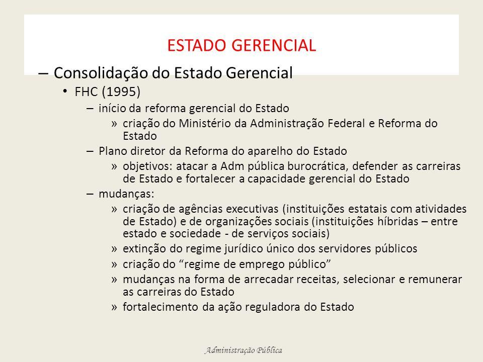 Administração Pública ESTADO GERENCIAL – Consolidação do Estado Gerencial FHC (1995) – início da reforma gerencial do Estado » criação do Ministério d