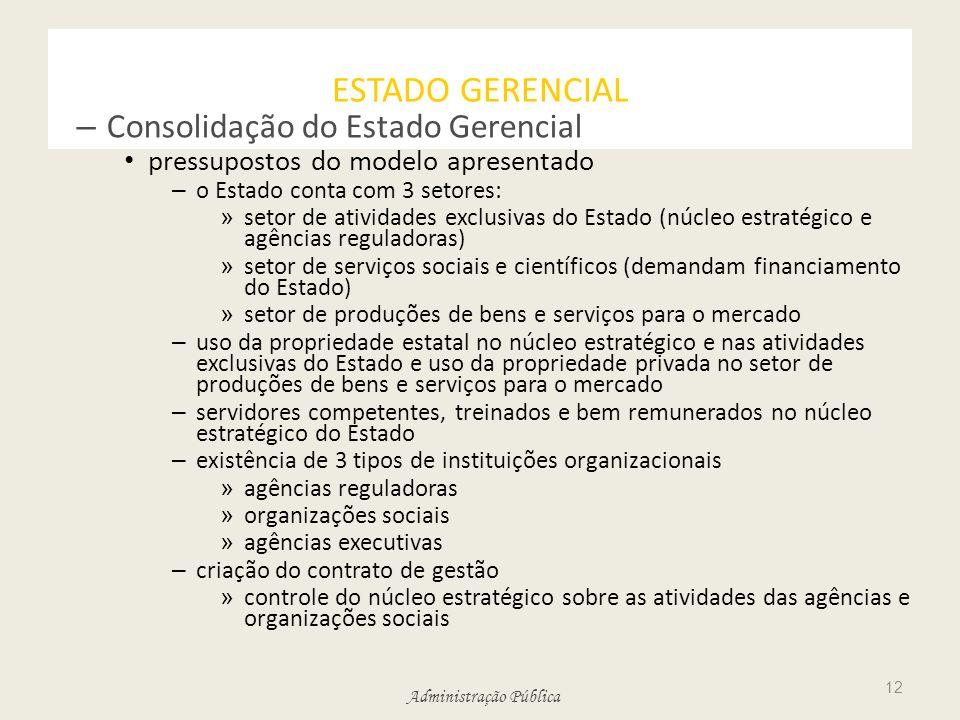 Administração Pública ESTADO GERENCIAL – Consolidação do Estado Gerencial pressupostos do modelo apresentado – o Estado conta com 3 setores: » setor d