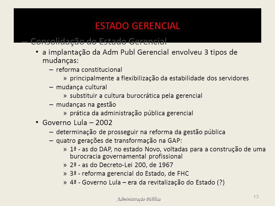 Administração Pública ESTADO GERENCIAL – Consolidação do Estado Gerencial a implantação da Adm Publ Gerencial envolveu 3 tipos de mudanças: – reforma