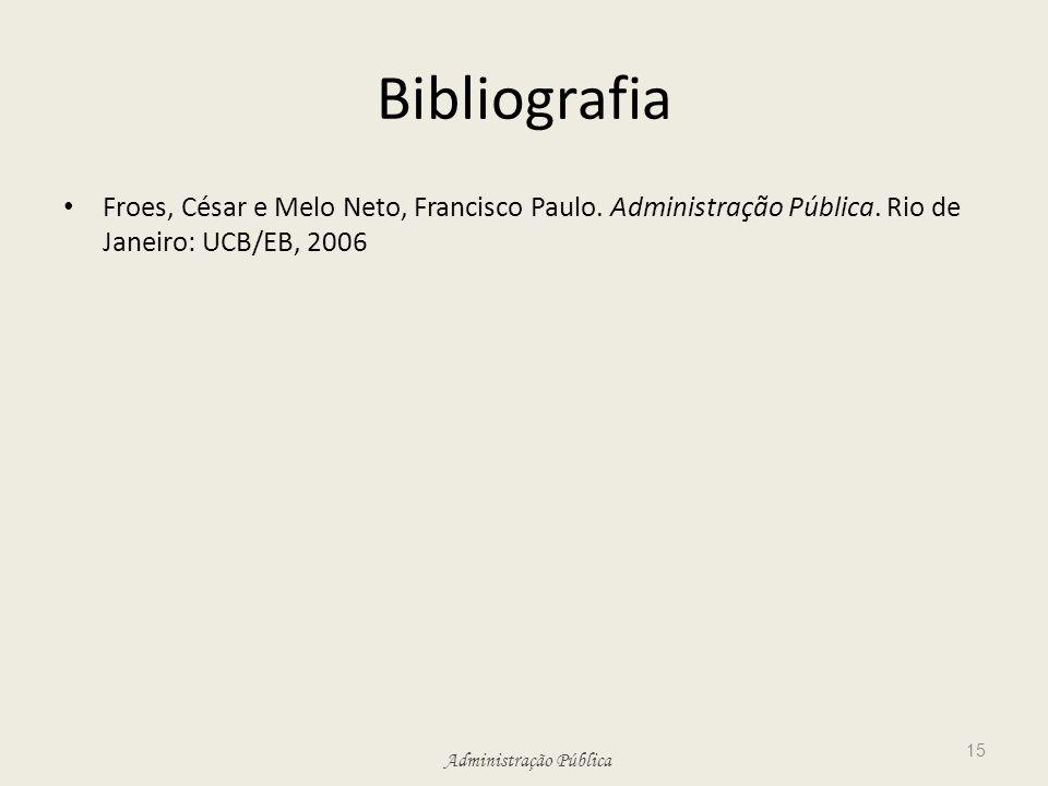 Administração Pública Bibliografia Froes, César e Melo Neto, Francisco Paulo. Administração Pública. Rio de Janeiro: UCB/EB, 2006 15