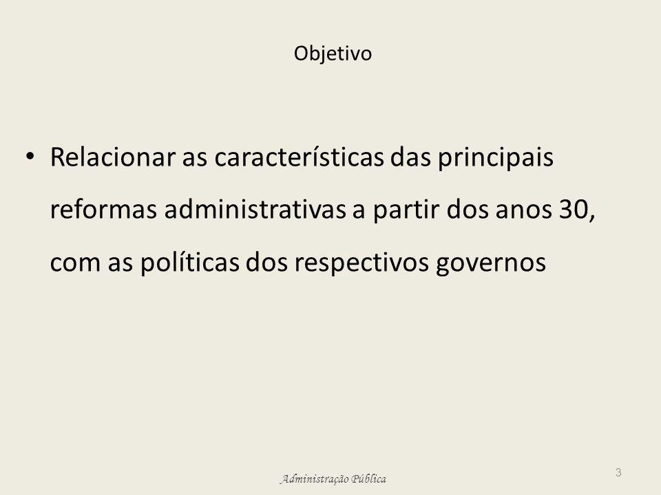 Administração Pública Objetivo Relacionar as características das principais reformas administrativas a partir dos anos 30, com as políticas dos respec