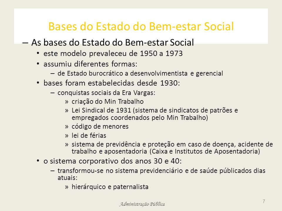 Administração Pública Bases do Estado do Bem-estar Social – As bases do Estado do Bem-estar Social este modelo prevaleceu de 1950 a 1973 assumiu difer