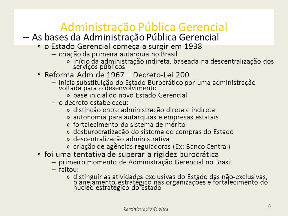 Administração Pública Administração Pública Gerencial – As bases da Administração Pública Gerencial o Estado Gerencial começa a surgir em 1938 – criaç