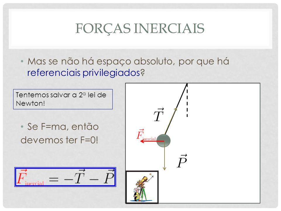 FORÇAS INERCIAIS Mas se não há espaço absoluto, por que há referenciais privilegiados? Se F=ma, então devemos ter F=0! Tentemos salvar a 2 a lei de Ne