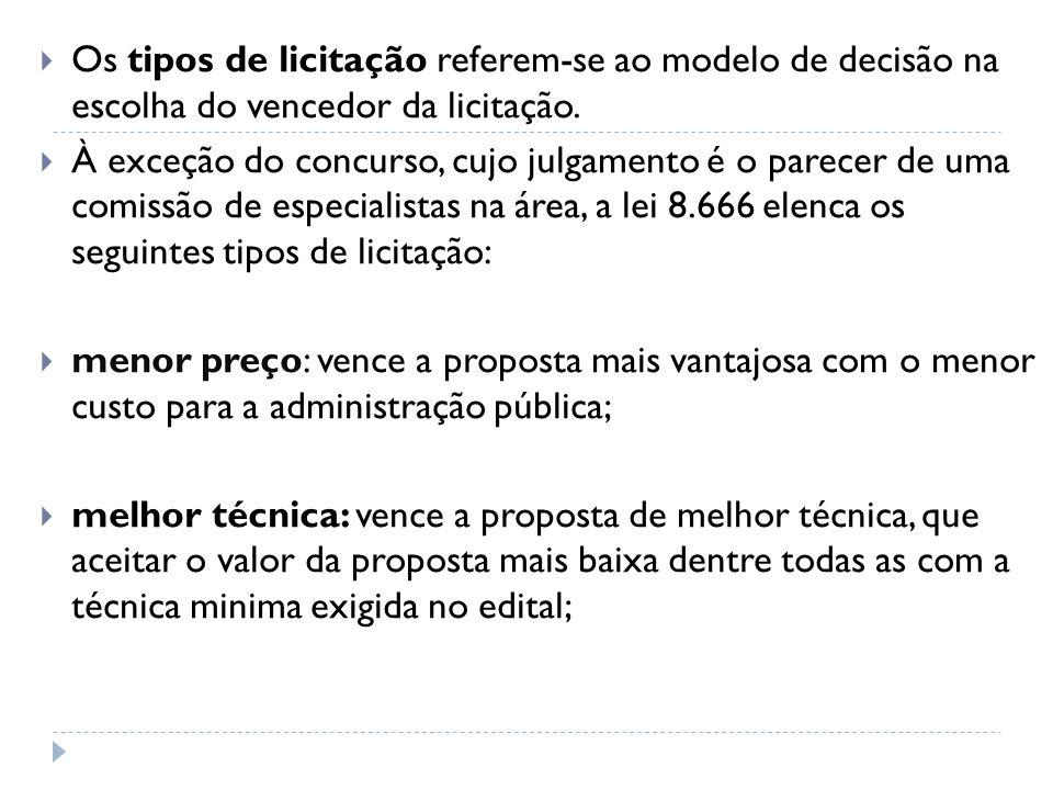 Os tipos de licitação referem-se ao modelo de decisão na escolha do vencedor da licitação.