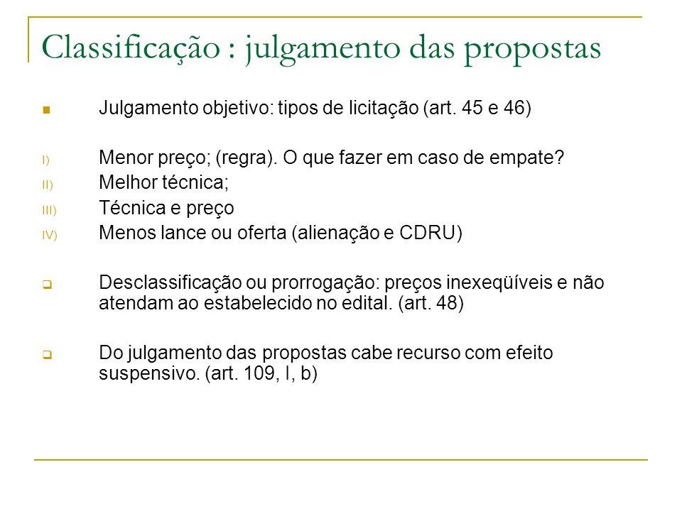 Classificação : julgamento das propostas Julgamento objetivo: tipos de licitação (art. 45 e 46) I) Menor preço; (regra). O que fazer em caso de empate