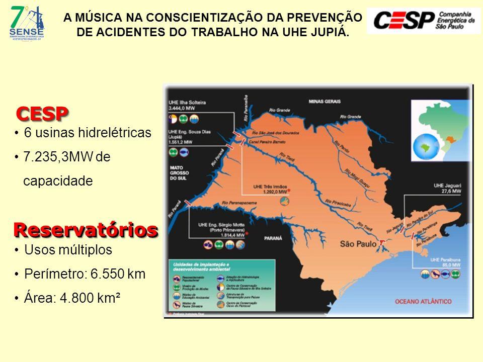 A MÚSICA NA CONSCIENTIZAÇÃO DA PREVENÇÃO DE ACIDENTES DO TRABALHO NA UHE JUPIÁ. 6 usinas hidrelétricas 7.235,3MW de capacidade CESPCESP Usos múltiplos