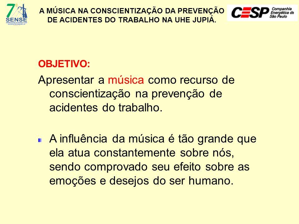A MÚSICA NA CONSCIENTIZAÇÃO DA PREVENÇÃO DE ACIDENTES DO TRABALHO NA UHE JUPIÁ. OBJETIVO: Apresentar a música como recurso de conscientização na preve