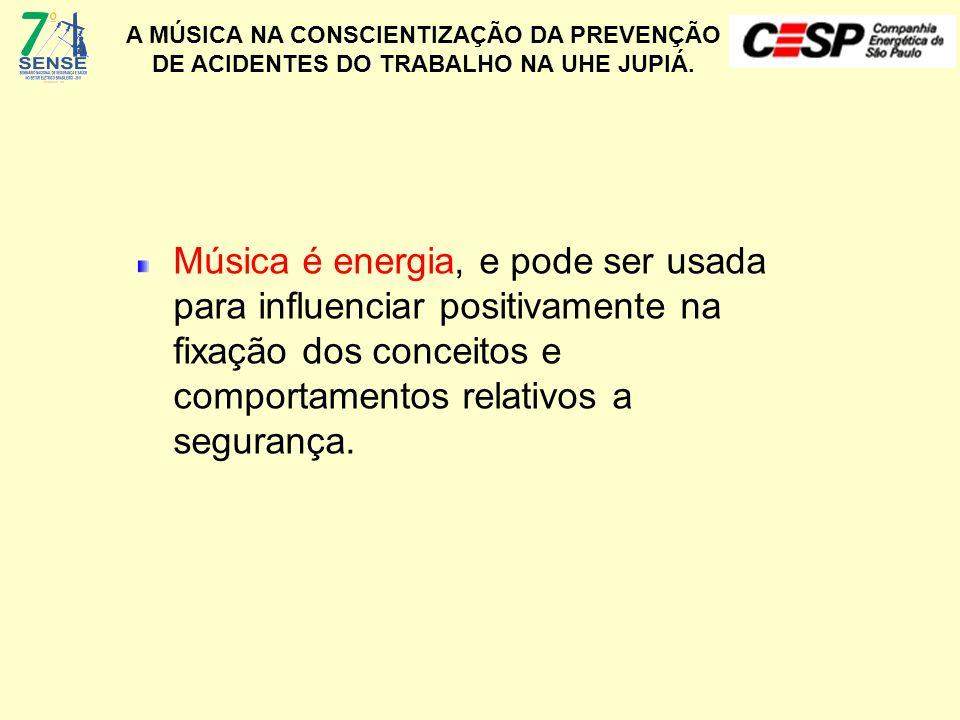 A MÚSICA NA CONSCIENTIZAÇÃO DA PREVENÇÃO DE ACIDENTES DO TRABALHO NA UHE JUPIÁ. Música é energia, e pode ser usada para influenciar positivamente na f