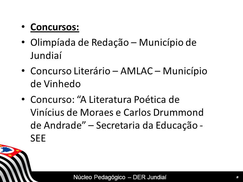 SECRETARIA DA EDUCAÇÃO Coordenadoria de Gestão da Educação Básica Concursos: Olimpíada de Redação – Município de Jundiaí Concurso Literário – AMLAC – Município de Vinhedo Concurso: A Literatura Poética de Vinícius de Moraes e Carlos Drummond de Andrade – Secretaria da Educação - SEE 8 Núcleo Pedagógico – DER Jundiaí