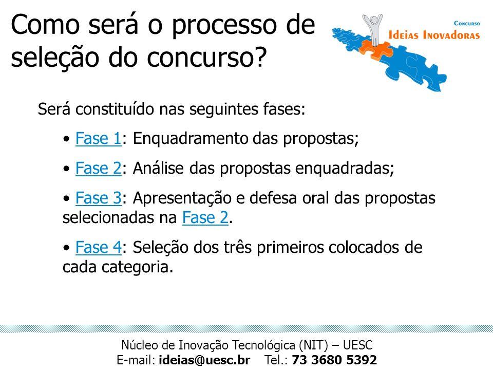 Como será o processo de seleção do concurso? Será constituído nas seguintes fases: Fase 1: Enquadramento das propostas; Fase 2: Análise das propostas