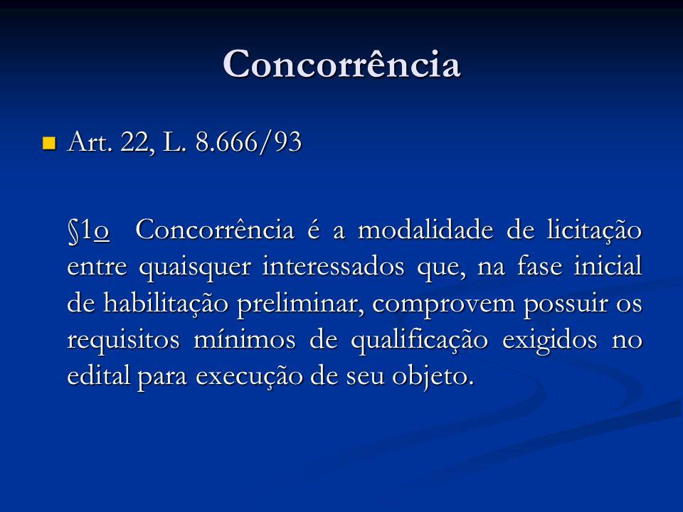 Concorrência Art. 22, L. 8.666/93 Art. 22, L. 8.666/93 §1o Concorrência é a modalidade de licitação entre quaisquer interessados que, na fase inicial