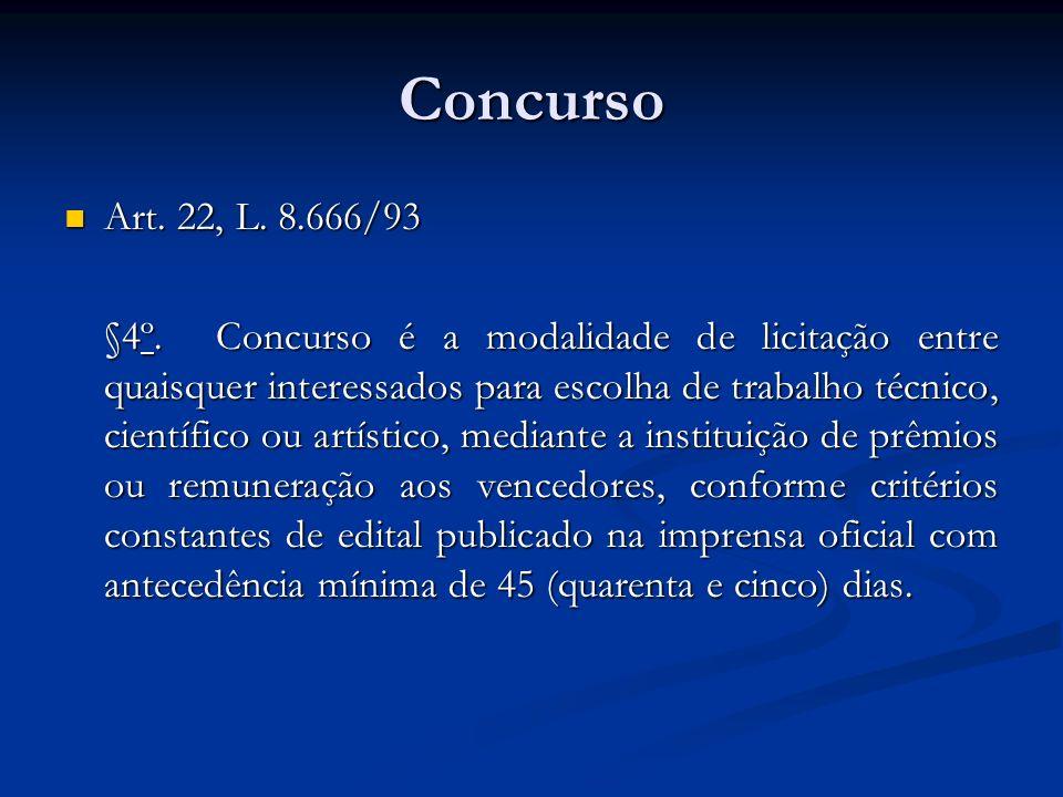 Concurso Art. 22, L. 8.666/93 Art. 22, L. 8.666/93 §4º. Concurso é a modalidade de licitação entre quaisquer interessados para escolha de trabalho téc