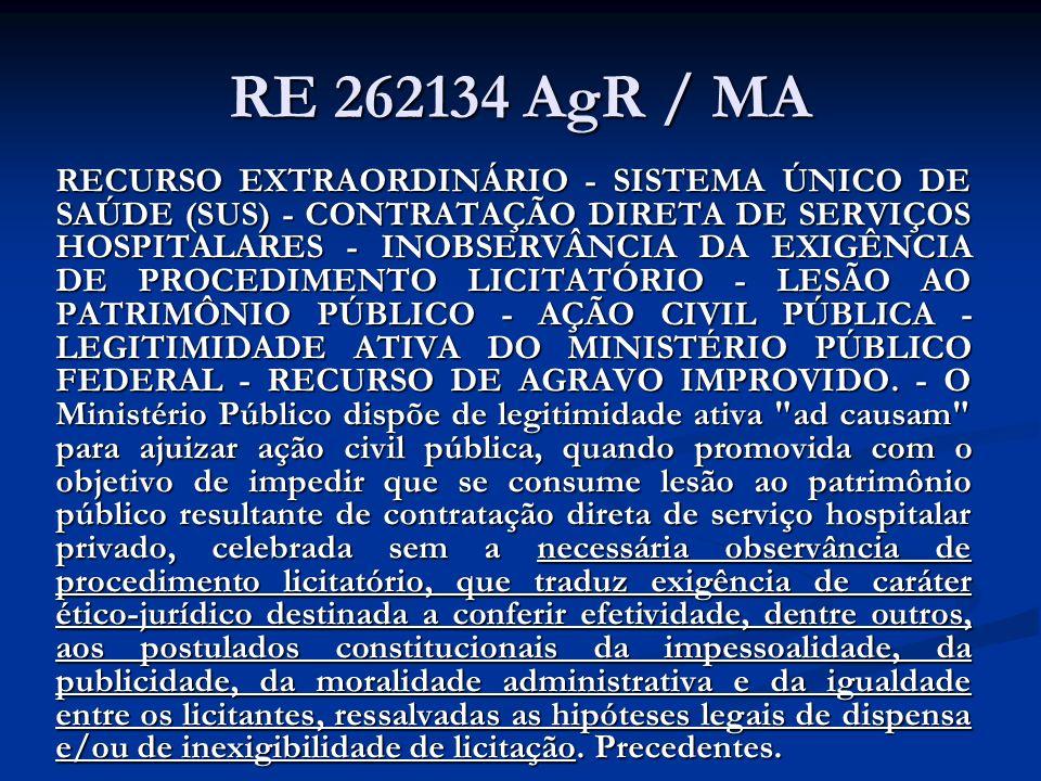 RE 262134 AgR / MA RECURSO EXTRAORDINÁRIO - SISTEMA ÚNICO DE SAÚDE (SUS) - CONTRATAÇÃO DIRETA DE SERVIÇOS HOSPITALARES - INOBSERVÂNCIA DA EXIGÊNCIA DE PROCEDIMENTO LICITATÓRIO - LESÃO AO PATRIMÔNIO PÚBLICO - AÇÃO CIVIL PÚBLICA - LEGITIMIDADE ATIVA DO MINISTÉRIO PÚBLICO FEDERAL - RECURSO DE AGRAVO IMPROVIDO.