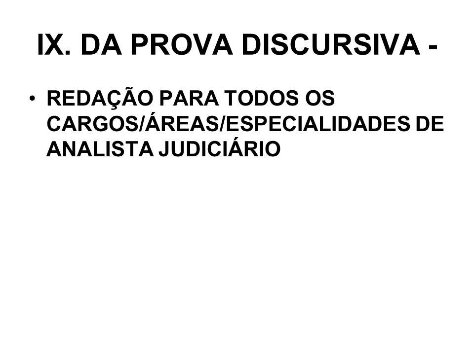IX. DA PROVA DISCURSIVA - REDAÇÃO PARA TODOS OS CARGOS/ÁREAS/ESPECIALIDADES DE ANALISTA JUDICIÁRIO